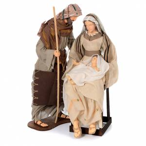 Nativity sets: Holy family in resin, gauze and lace 30 cm with chair
