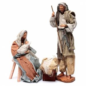 Nativity sets: Holy family in resin with stool country style 45 cm