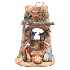 Terracotta Nativity Scene figurines from Deruta: Holy family statues on shingle in terracotta from Deruta 23 cm