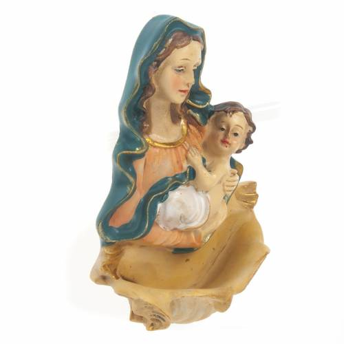Holy Water font in resin, Our Lady with baby s2