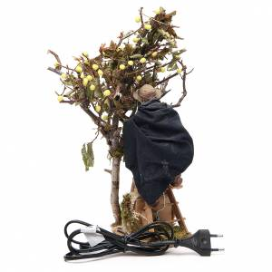 Hombre sobre escalera con árbol 14 cm movimiento belén de Nápoles s4