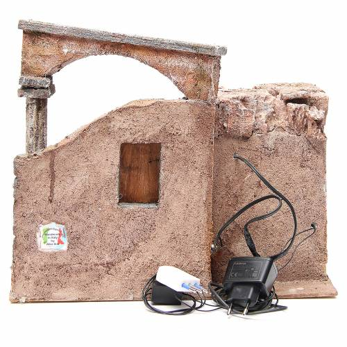 House with roman column and hut for nativity 35x35x25cm s4