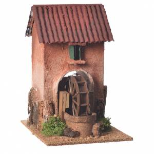 Watermills and windmills: House with water mill for nativities measuring 23x15x20cm
