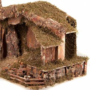 Krippe Hütten und Grotten: Huette Krippe Holz Moos und Kork 100x50x50
