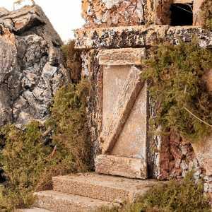 Krippe Hütten und Grotten: Huette Krippe mit Heu alt Stil 43x24x25