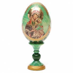 Huevos rusos pintados: Huevo ruso de madera découpage Virgen de la Pasión altura total 13 cm estilo Fabergé