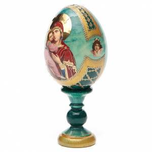 Huevos rusos pintados: Huevo ruso de madera découpage Vladimirskaya altura total 13 cm estilo Fabergé