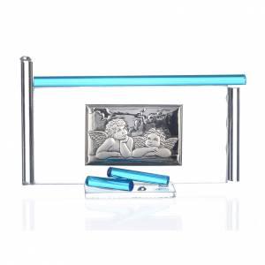 Bomboniere e ricordini: Icona Angeli argento e vetro Murano Acquamarina 13x8 cm