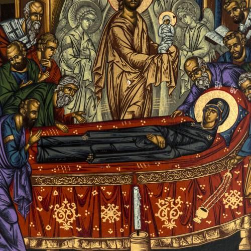 Icona Grecia serigrafia Dormizione di Maria 31x24 s2