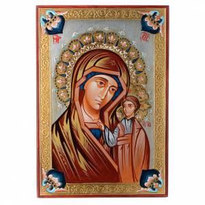 Icone Romania dipinte: Icona Madonna di Kazan decori policromi