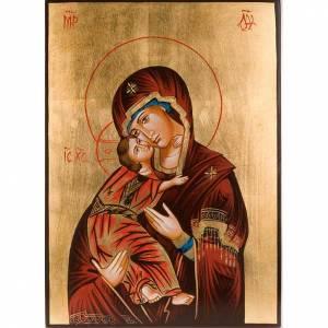 Icona Madonna di Vladimir manto rosso Romania s1