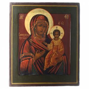 Icone Russe antiche: Icona Madonna Smolenskaya antica Restaurata XX secolo 30x25