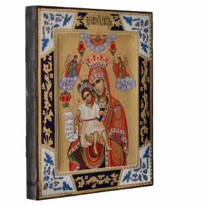 Icone Russe dipinte su tavola antica: Icona Madonna Veramente Degna su tavola XIX sec.