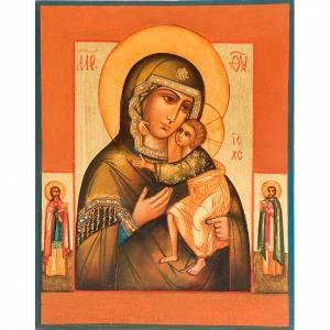 Icone Russia dipinte: Icona Madre di Dio di Tolga manto verde