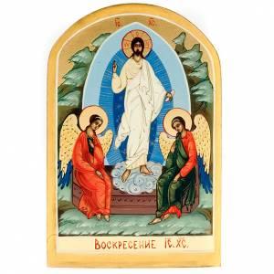 Icona russa Resurrezione di Gesù 6x9 dipinta a mano s1