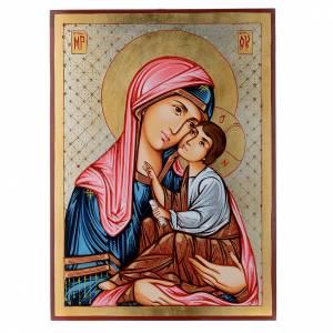 Icone Romania dipinte: Icona Romania dipinta Vergine Odigitria con bambino 40x30 cm