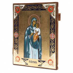Icone Russe dipinte su tavola antica: Icona russa antica Madonna Peschanskaya Restaurata
