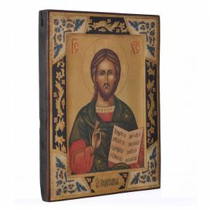 Icone Russe dipinte su tavola antica: Icona russa Pantokrator su tavola antica