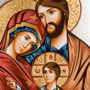 Icona Sacra Famiglia Romania decoro policromo s2
