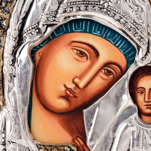 Icona Vergine di Kazan riza argentata dorata 7