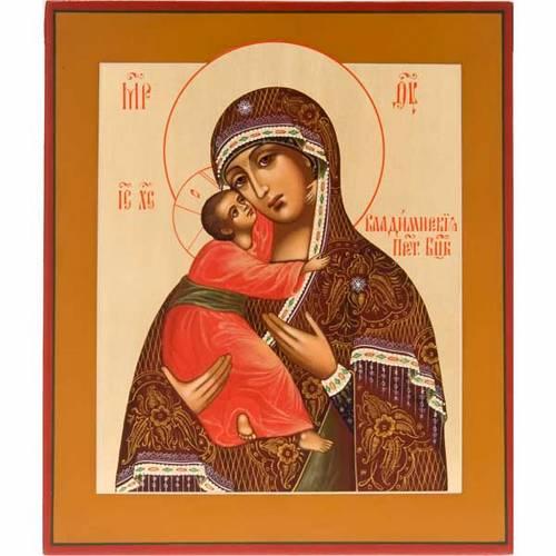 Icona Vergine di Vladimir Russia dipinta s1