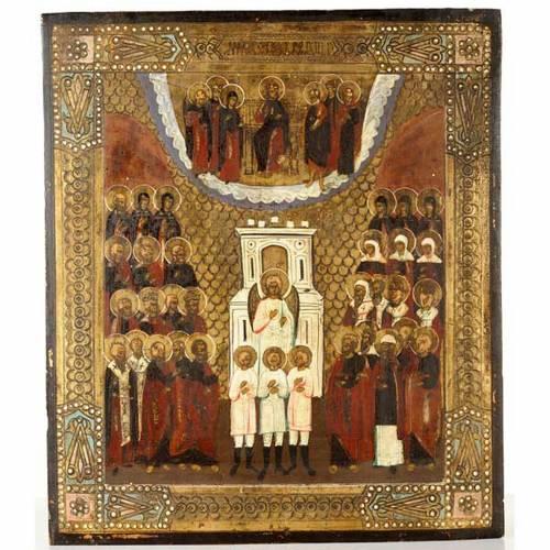 Icône ancienne russe,anges et saint dans la gloire 1