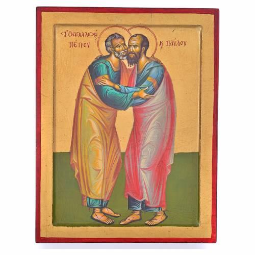 Icône grecque embrasement de Pierre et Paul 31x24cm s1