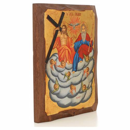 Icone Grecque peinte Sainte Trinité sur nouage s5