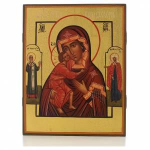 Icônes Russes peintes: Icone russe Mère de Dieu de Feodor avec 2 Saint, 21x17 cm