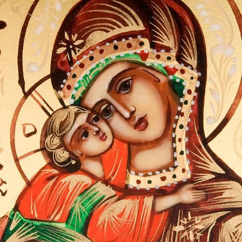 Icône russe peinte à la main, 6x9 vierge de Vladimi s3