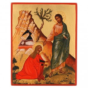 Icônes Russes peintes: Icône Russe peinte Noli me tangere Jésus et Madelei