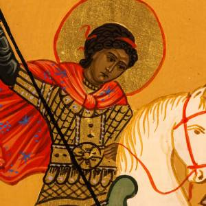 Icône russe Saint Georges peinte 18x12 cm s2