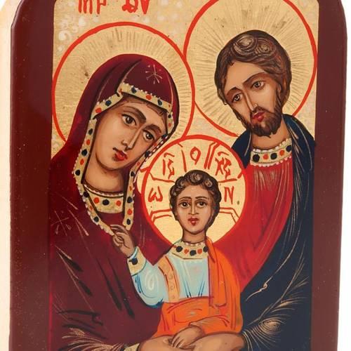 Icône russe sainte famille 6x9 cm cadre marron s4