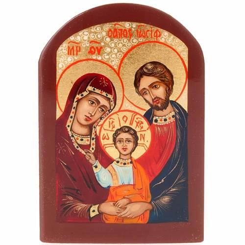 Icône russe sainte famille 6x9 cm cadre marron s1