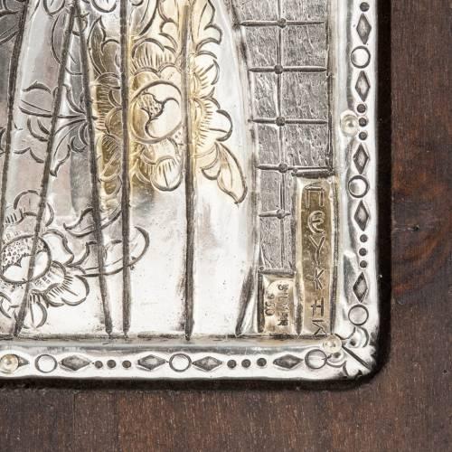 Icone Vierge à l'enfant avec riza en argent 950 s3