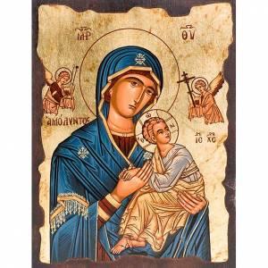Ikony Grecja malowane serigrafowane: Ikona Matka Boska Pasyjna płaszcz niebieski
