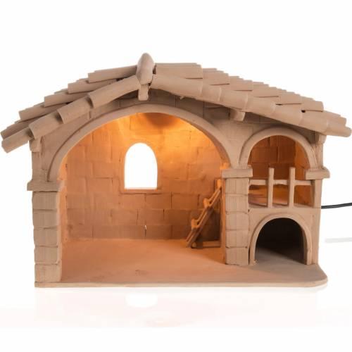 Illuminated crib for Nativity scene natural terracotta s1