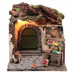 Neapolitan Nativity Scene: Illuminated fruit scene 30x30x30 cm  for Neapolitan nativity scene setting