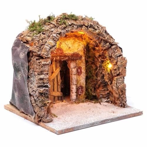 Illuminated grotto in wood and cork, nativity scene 28x25x26cm s3
