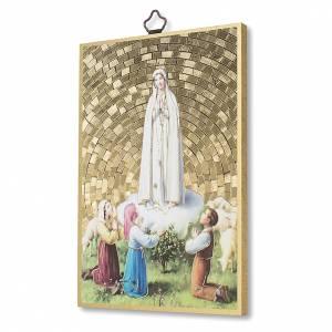 Tableaux, gravures, manuscrit enluminé: Impression sur bois Apparition de Fatima avec bergers