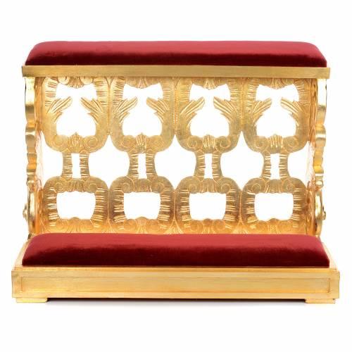 Inginocchiatoio legno intagliato a mano foglia oro inalterabile 2 posti s3