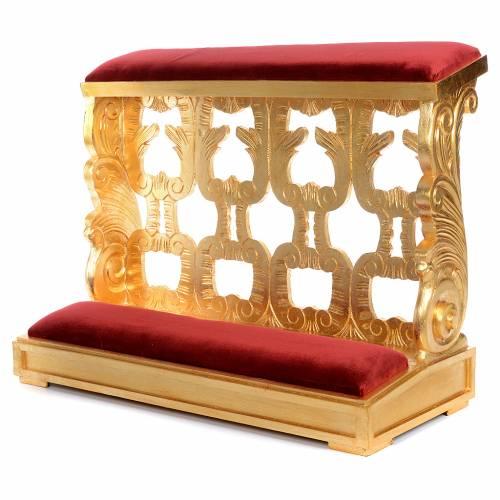 Inginocchiatoio legno intagliato a mano foglia oro inalterabile 2 posti s2