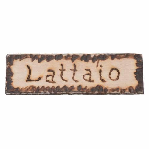 Insegna negozio Lattaio 2,5x9 cm per presepe s1