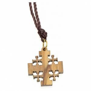 Jerusalem cross pendant in Holy Land olive wood s2