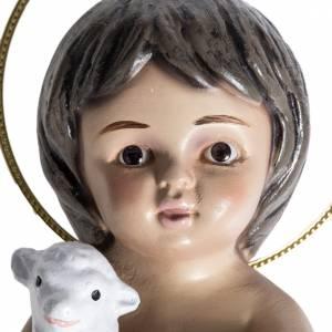 Christkindstatuen: Jesuskind aus Gips mit Lamm 15 cm