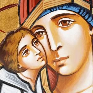 Handgemalte rumänische Ikonen: Ikone Jungfrau Eleousa auf unebener Tafel