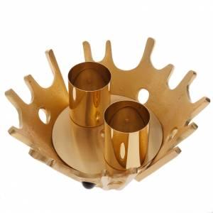 Armleuchter: Kerzenhalter mit Doppelkerze vergoldetes Messing und Steine