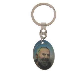 Key Ring Padre Pio oval shape s1