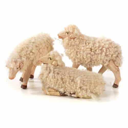 Kit 3 pecore con lana 14 cm presepe napoletano s1