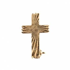 Clergy cross lapel pins: Knurled cross brooch in golden 800 silver